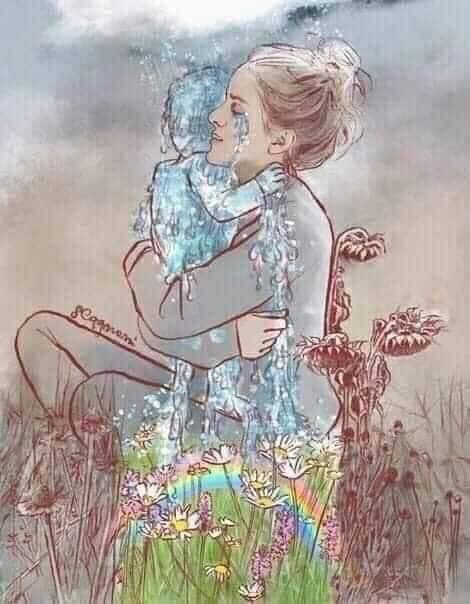 Mother holding her child made of her tears. The tears overflow to a rainbow over flowers.